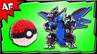 Custom Lego Pokemon Mega CHARIZARD X + PokeBall MOC Stop Motion Build Review
