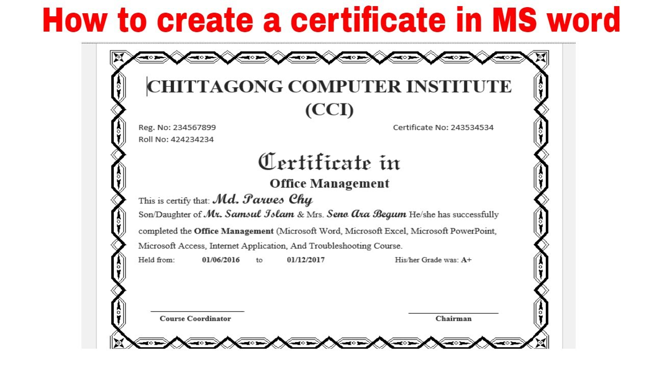 How To Make A Certificate In Microsoft Word Tutorial Oukasfo