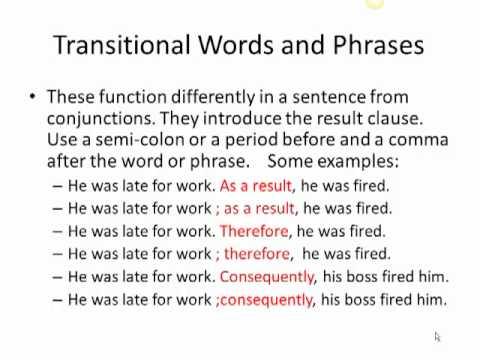 transitional words in writing