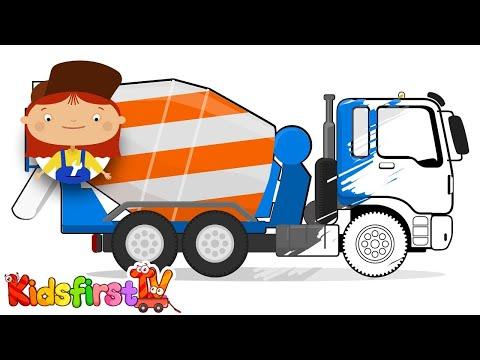 Doc McWheelie's Magic Brush: Paint A CEMENT TRUCK! (Children's Car Cartoons)