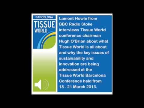 Lamont Howie from BBC Radio Stoke interviews Tissue World conference chairman Hugh O'Brian