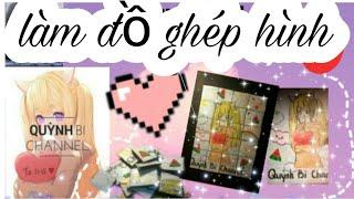 DIY Hướng dẫn làm trò chơi ghép hình( 2 in 1) /Instruction for making jigsaw games/ Quỳnh Bi Channel