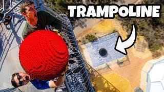 GIANT LEGO BOWLING BALL Vs. TRAMPOLINE! (20,000 BRICKS!!)