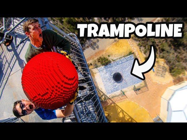 GIANT LEGO BOWLING BALL Vs. TRAMPOLINE! (20,000 BRICKS!!) thumbnail
