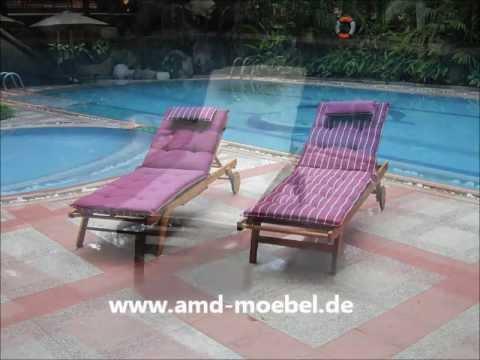 Www.amd-moebel.de - Sunlounger Violett Sonnenliege Gartenmöbel-Auflage