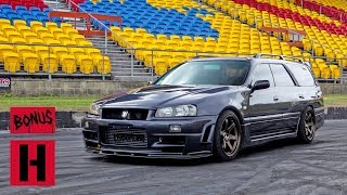 Turbo V8 Powered Nissan Stagea Burnout!