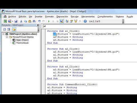 Control Activex Imagen de Excel para Ajedrez