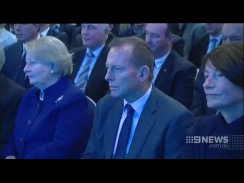 Happy families: Malcolm Turnbull faces Tony Abbott at Liberal launch