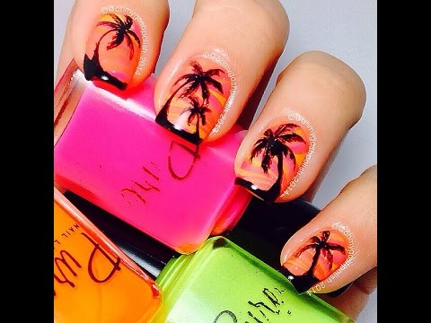 Watermarble Sunset nail art