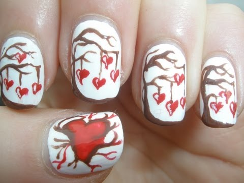 Valentines Day Love Tree Nail Art Tutorial