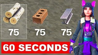 Collect 75 of each material within 60 seconds after Landing from the Battle Bus