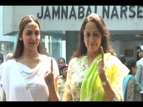 Hema Malini and Esha Deol cast their votes Maharashtra Assembly Elections 2014.