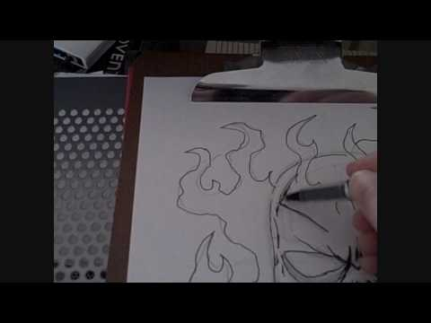 How To Draw A Flaming Skull Video 6 Video
