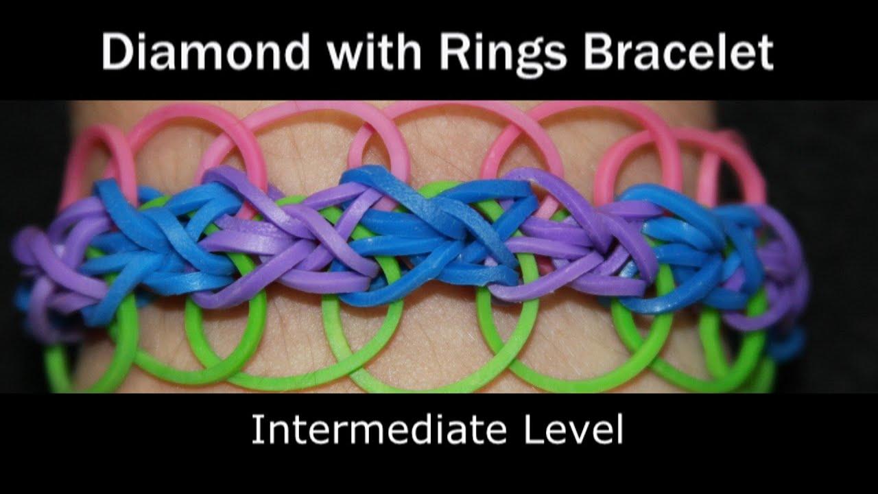 rainbow loom174 diamond with rings bracelet youtube
