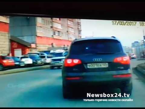 На улице Нейбута «король дороги»  поучал водителя малолитражки  (Владивосток)