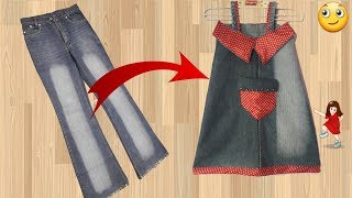 Diy old jeans convert in to new design Baby top // Easy way // by simple cutting