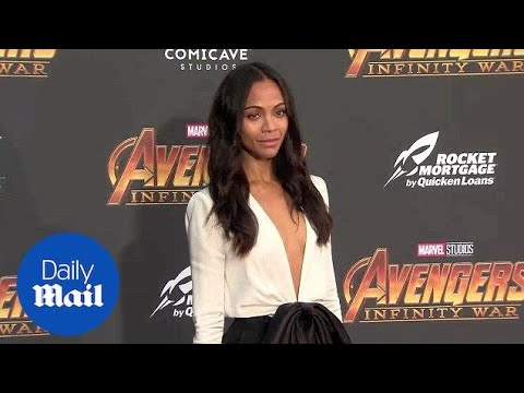 Zoe Saldana arrives solo at the Avengers Infinity War premiere - Daily Mail
