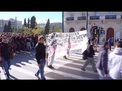 Greece : student protest rally in Athens - no comment