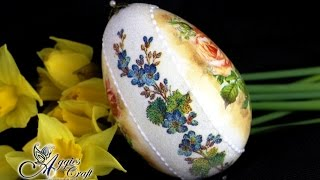 "Decoupage Tutorial - ""SUGAR EFFECT"" on Easter Egg - Mix media"