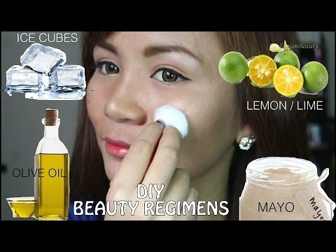 FOOD ON YOUR FACE?! DIY Beauty Remedies : Lemon, Ice Cubes, Mayo & Olive Oil