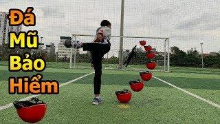 Thử Thách Bóng Đá mùa Asian Cup 2019 Đỗ Kim Phúc thách Quang Hải nhí sút phạt và đá Penalty bằng mũ