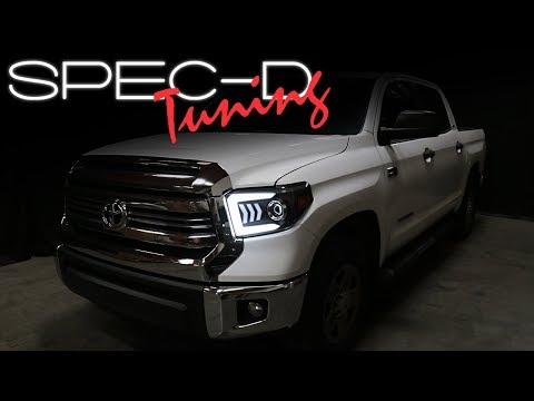 SPECDTUNING INSTALLATION VIDEO: 2014-2018 TOYOTA TUNDRA SEQUENTIAL TURN SIGNAL PROJECTOR HEADLIGHTS