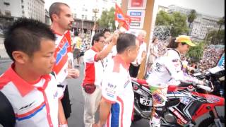 Dakar Rally 2015 Team HRC Scrutineering and ceremonial podium