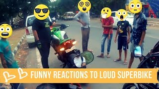 FUNNY PEOPLE REACTION TO LOUDEST SUPERBIKE IN MARKET !! PUBLIC REACTIONS