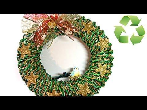 Como hacer una corona de Navidad. Christmas ornament.
