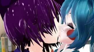 mmd fnaf purple guy and toy bonnie  kiss