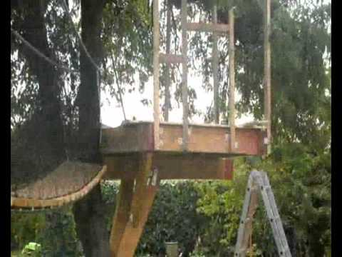 Building A Treehouse With Rope Bridge For The Kids Youtube