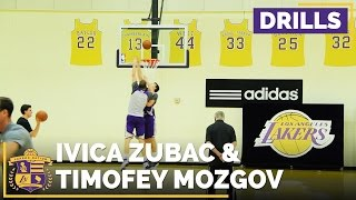 Watch Ivica Zubac Work On His Skyhook, Post Moves With Timofey Mozgov