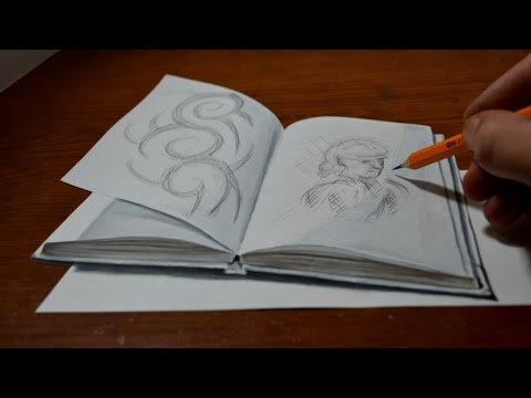 Drawing a 3D Sketchbook - Amazing Trick Art Optical Illusion