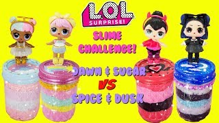 LOL SURPRISE Slime Challenge Dawn VS Dusk Sugar VS Spice Compilation