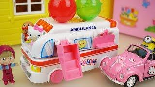 Ambulance car and Hello kitty baby doll camping car toys play