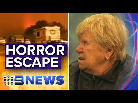 Australia fires: Family forced into lake to escape flames | Nine News Australia
