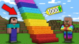 Minecraft NOOB vs PRO: NOOB BOUGHT RAINBOW STAIRS FOR 1000$ BUT WHERE DOES IT LEAD? 100% trolling