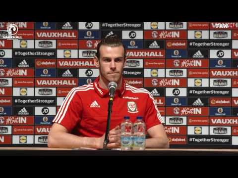 Gareth Bale speaks to the press ahead of Wales v Portugal