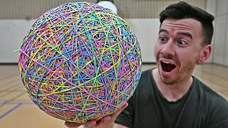 INSANE RUBBER BAND BASKETBALL EXPERIMENT!! (10,000 RUBBER BANDS)