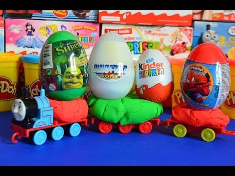 Kinder Surprise Surprise Eggs Thomas And friends Play-Doh Spiderman Dinofroz Shrek Kinder surprise