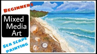 Mixed media canvas for beginners / Seascape painting/ Beach Painting