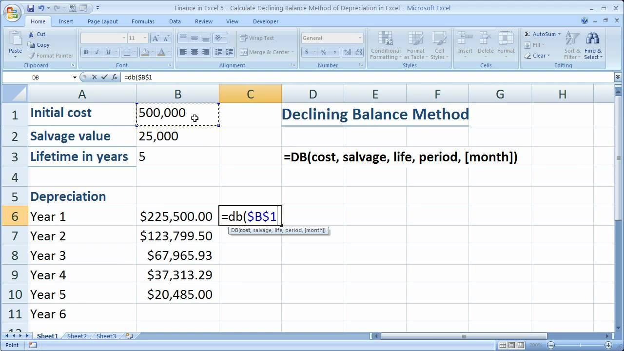 finance in excel 5