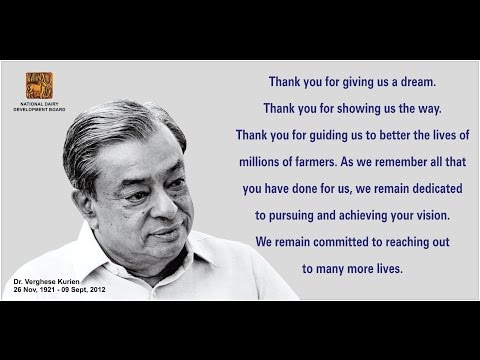 a tribute to verghese kurien Paying homage to father of white revolution in india dr verghese kurien tribute to verghese kurien amul ad-campaign was started by dr verghese.