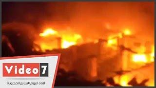 بالفيديو.. وصول سيارات مطافى إضافية للسيطرة على حريق مصنع العمرانية