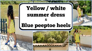 Crossdresser - yellow white dress and blue stiletto peeptoe heels | NatCrys