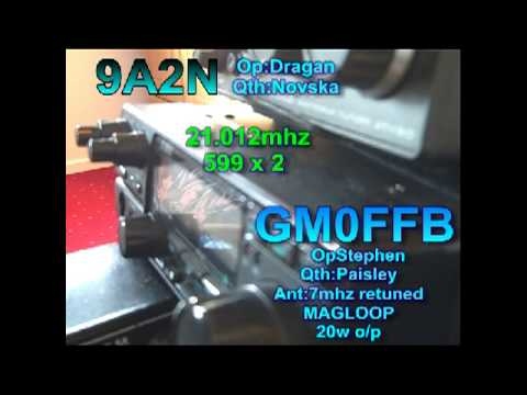 Retuned 7mhz MAGLOOP GM0FFB qso's 9A2N from Croatia