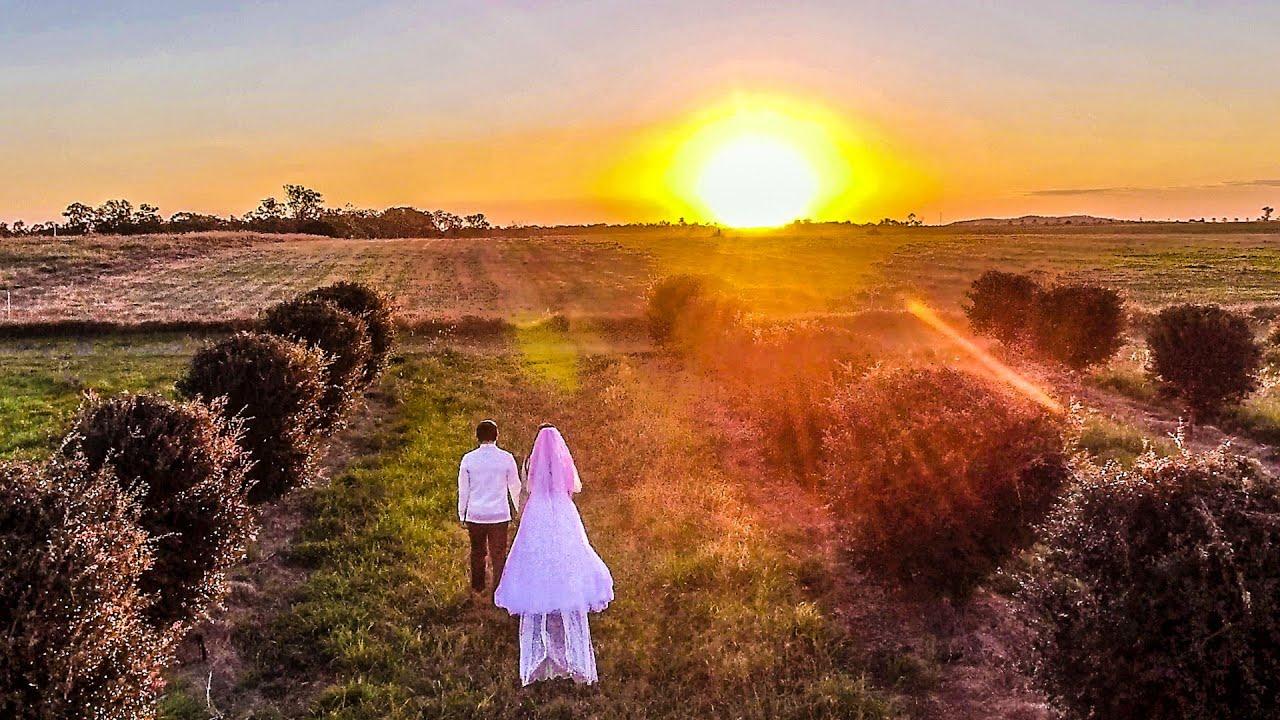 White sunset wedding