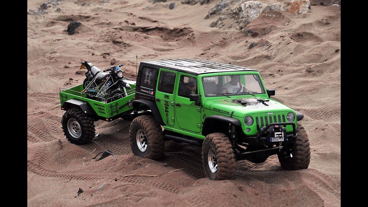 Remolque Con Moto Axial Scx10 Jeep Wrangler Rubicon
