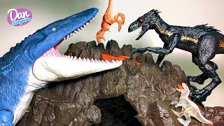 DINOSAUR TOYS INSIDE VOLCANO! Fun Jurassic World Fallen Kingdom Toys for Kids
