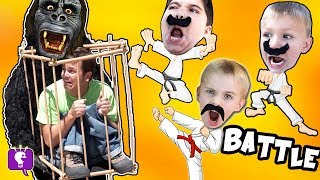 Funny MONKEY Gets DAD! Big Banana Plops with HobbyKarate Kids on a Toy Adventure